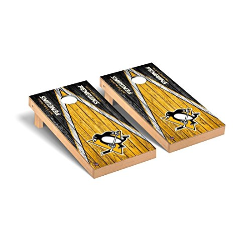 Victory Tailgate Pittsburgh Penguins NHL Regulation Cornhole Game Set Weathered Triangle Version