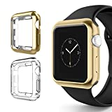 Alritz for Apple Watch 3 Bumper 42mm, Soft TPU Protective Case Cover for iWatch Series 1 Series 2 Series 3 Nike+ Sport Edition, Gold and Clear