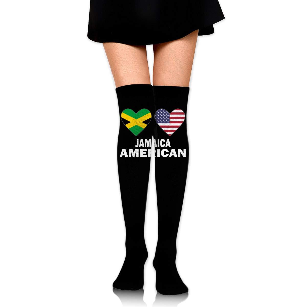 One Size Girls Womens Jamaica American Flag Hearts Over Knee Thigh High Stockings Fashion Socks