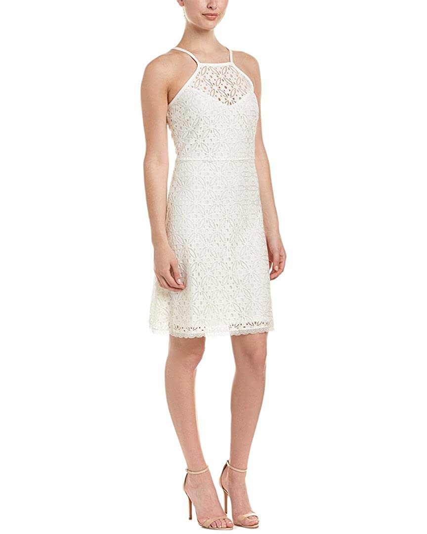 6c07a0d0 Laundry by Shelli Segal Halter A-Line Stretch Lace Dress Marshmallow at  Amazon Women's Clothing store: