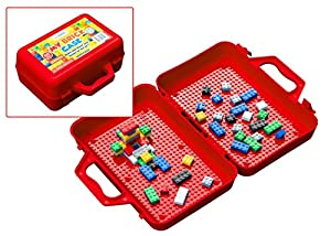 My Brick Case: Portable Storage For Kids Building Bricks With Play Surface For Storing And Building Bricks On-The-Go (Red)