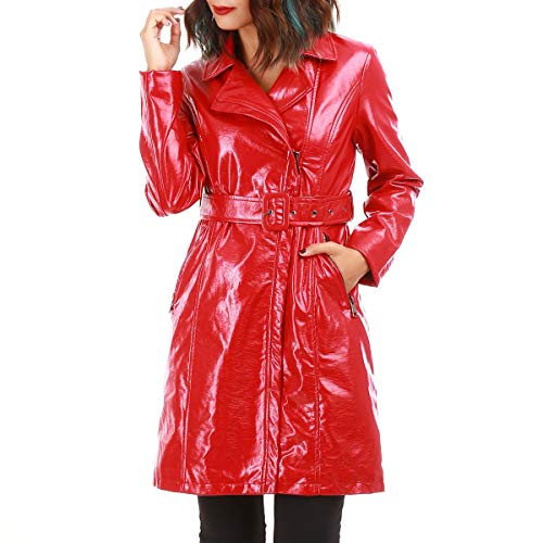 La Modeuse - Trench mi-Long en Vinyle Rouge