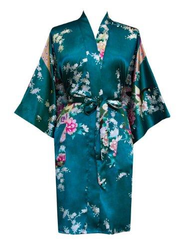 Old Shanghai Women's Kimono Short Robe - Peacock & Blossoms - Peacock, One Size - Short Kimono Robe