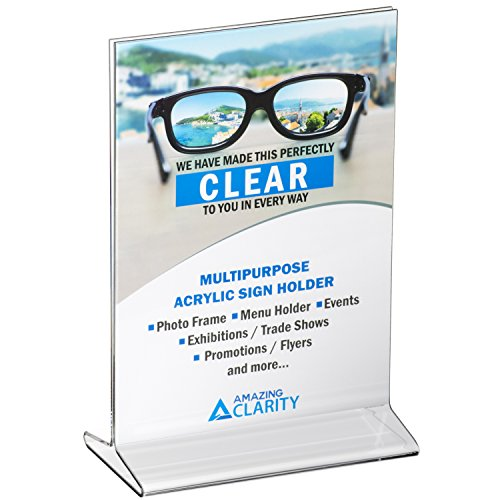 Amazing Clarity Acrylic Sign Holder / Table Top Menu Display Stand, 5 x 7 Inches, Clear, Pack of 6 - Long Menu Card