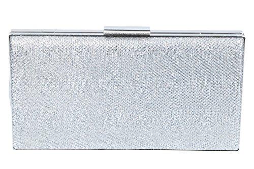 Bolsa mujer LUCA BORSE pochette plata de ceremonia apertura metálica N916