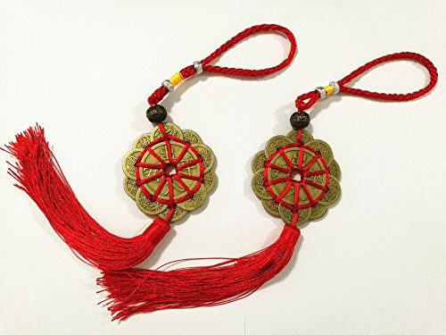 TTOYOUU Chinese Feng Shui Prosperity Protection Lucky Charm Coins with Red Knot-2 Sets Fengshui Gift