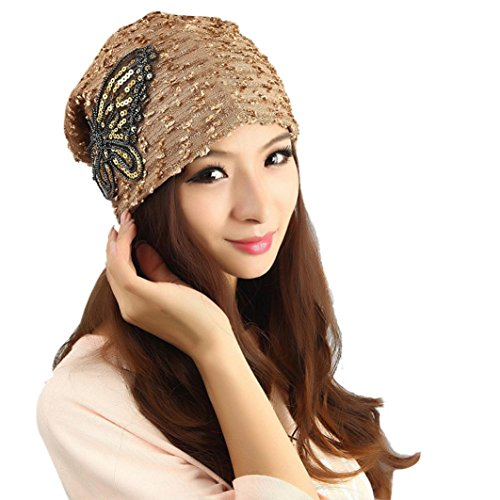 Womens Winter Hat Lace Butterfly Decorate Beanie Caps Lady Skullies Turban Cap (Gold)