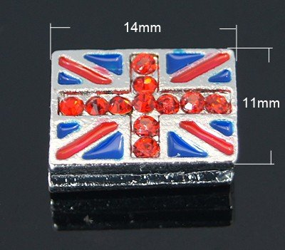 12pc Alloy Rhinestone Slide Charms, with Enamel, Rectangle, Platinum Metal Color, Red, 11x14x5.5mm, Hole: 6x2mm