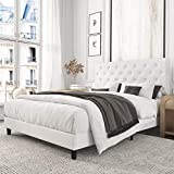 Amolife White Upholstered Faux Leather Platform Bed with Solid Wooden Slat Support and Button Tufted Headboard, Queen Size