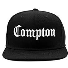 Compton Flat Bill Snapback Adjustable Flat Bill Baseball Cap Hat Black