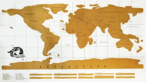 Deluxe Size Gold Scratch Map of the World Poster for Travelers - Perfect Gift World Map Poster for Adults and Kids - Gold Deluxe Edition Scratch Off World Poster