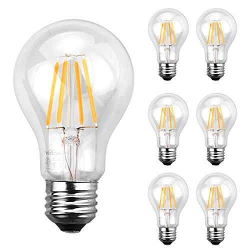 A19 Led Filament Bulb Nostalgic Edison Style 4w To Replace: Ascher E26 A19 LED Filament Edison Clear Glass Light Lamp