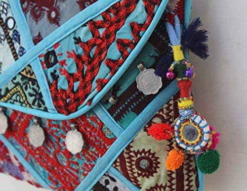 Bhawana Handicrafts Turquoise Handmade Banjara Clutch Hand Embroidered Tribal Purse Mirror Work Ethnic Shoulder Bag