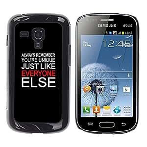 Caucho caso de Shell duro de la cubierta de accesorios de protección BY RAYDREAMMM - Samsung Galaxy S Duos S7562 - Unique Everyone Else Quote Special People