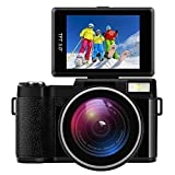 "Digital Camera Camcorder Full HD Digital Video Camcorder 1080P 24.0MP 3"" LCD Flip Screen Vlogging Camera with Wide Angle Lens and Flash Light"