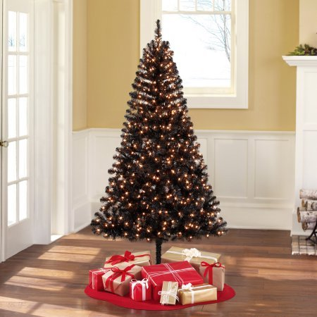 Holiday Time Pre-Lit 6.5 Madison Pine Black Artificial Christmas Tree, Clear-Lights (Black, Clear Lights) (Black Artificial Tree Christmas)