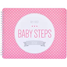 "NEW! Baby First Year Memory Book. Pretty In Pink ""Modernista""(TM), Poly Cover Hand Made. Memory keeper record book and journal for Boy or Girl. 7.5x9.5"" - Best Shower Gift!"