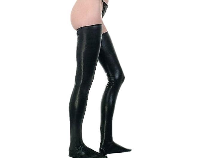 6b82dcd095d89 BONAMART Women Girl Sexy Winter PU leather Over the Knee Thigh High Socks  at Amazon Women's Clothing store: