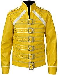 Freddie Mercury Jacket Queen Concert Belted Motorcycle Costume Leather Jacket Yellow