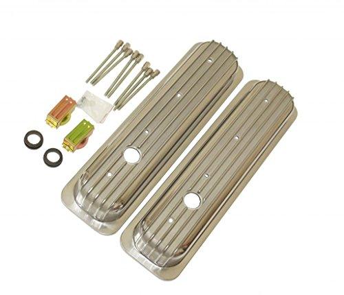 Aluminum Short Finned Chevy Center Bolt Valve Covers for SBC Small Block 305 350