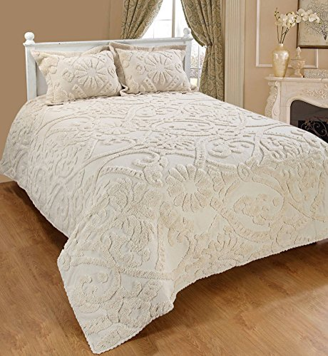 Chenille Ivory Fabric - Saral Home Fashions Relief Chenille Bedspread with Sham, Full, Ivory