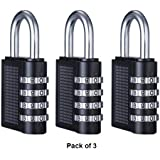 Forte 3 Pack Combination Lock 4 Digit Combination Security Padlock Suitable for Luggage, Suitcase Baggage, Lockers, Filling Cabinets, Toolbox and Much More, Great for General Purpose Application on Minimum to Medium Security Items, (Black)