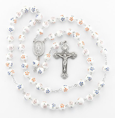 BERTOF BT-PR-107 Pewter Rosary White/Orange Glass Flower Beads Beads WITH 100% Pewter Center and Crucifix Hand Made USA Copyrighted Paul Herbert Blessing PEWTARA Series by Bertof