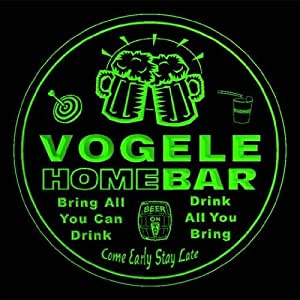 4x ccq47181-g VOGELE Family Name Home Bar Pub Beer Club Gift 3D Engraved Coasters
