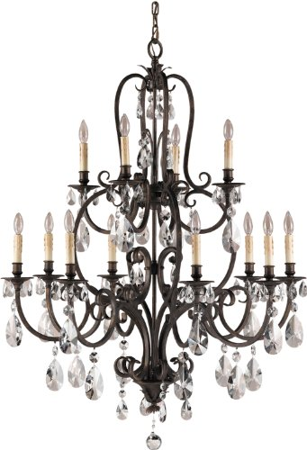 Feiss F2229/8+4ATS 12-Bulb Chandelier, Aged Tortoise Shell Finish