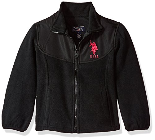 US Polo Association Baby Little Girls' Fashion Outerwear Jacket (More Styles Available), Space Dye-UA78-Black, 4