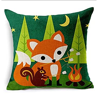 Fox animals Oil Painting Cotton Linen Throw Pillow Case Cushion Cover Home Sofa Decorative 18 X 18 Inch (5)