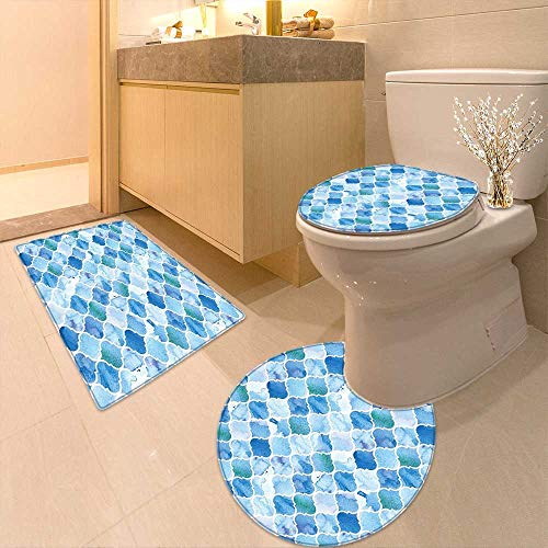 3 Piece Bathroom Contour Rugs Arabic Mosaic Pattern in Watercolor Paint Retro Style Islamic Artwork Light Blue Anti-Slip Water Absorption by Printsonne