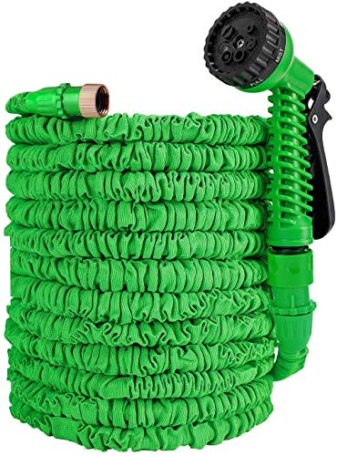 tianhengli Expandable Garden Hose 100ft Lightweight Colapsable Garden Hose for Watering Car Wash Wall Cleaning 3/4 Brass Connector High Pressure Water Gun Flex Hose Set Green