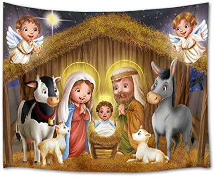 HVEST Nativity Scene Tapestry Jesus Christ Birth at Manger Wall Hanging Christian and Angel Tapestries for Bedroom Living Room Dorm Decor,92.5Wx70.9H inches