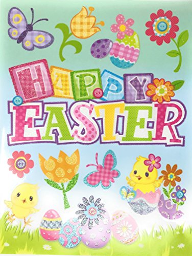 Happy Easter Chicks Flowers and Eggs Vinyl Window Clings