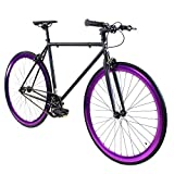 Golden Cycles Single Speed Fixed Gear Bike with Front & Rear Brakes (Raven, 41)