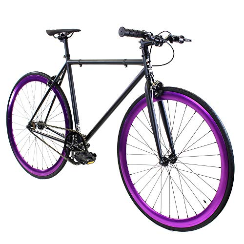 Golden Cycles Single Speed Fixed Gear Bike with Front & Rear Brakes (Raven, 48)