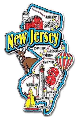 New Jersey Jumbo State Map Fridge Magnet (Magnets Jersey New Refrigerator)