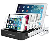 USB Charging Station Stand & Device Organizer, Multiple Devices Charger Station, 6-Port Universal Electronics Cell Phone Docking Station for iPhone 6/7/8/X, iPad, Tablets (6 ports)