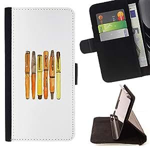 """Fountain caligrafía blanca minimalista"""" Colorida Impresión Funda Cuero Monedero Caja Bolsa Cubierta Caja Piel Id Credit Card Slots Para HTC One M7"""