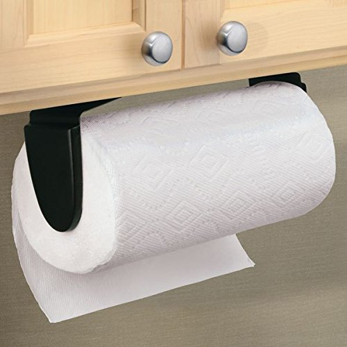 mDesign Wall Mount Paper Towel Holder & Dispenser, Mounts to Walls or Under Cabinets - for Kitchen, Pantry, Utility Room, Laundry and Garage Storage - Holds Jumbo Rolls, Matte Black
