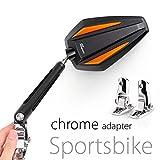 KiWAV Magazi Achilles motorcycle mirrors orange fairing mount w/ chrome adapter for sports bike adjustable e