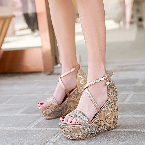 37 forte summer china golden sola tallone pearl pantofole spesso parola sotto GTVERNH belt ricamati una delle ZdPZq
