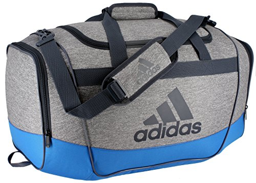 adidas Defender Duffel Bag, Medium, Heather Clear Grey/Bright Blue/Deepest Space
