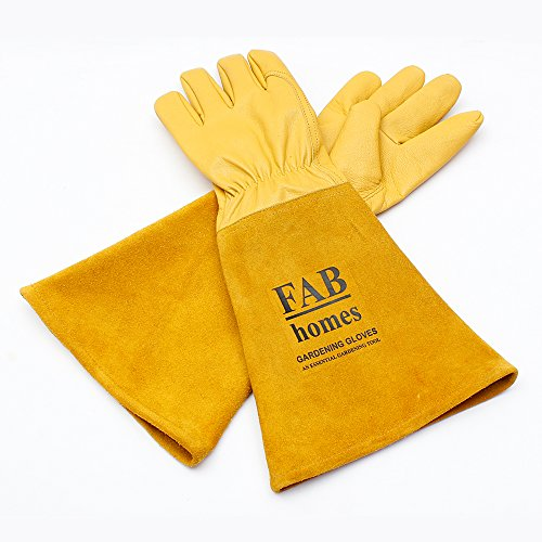 Gardening Gloves for Women and Men | Thorn and Cut Proof Work Gloves with Long Heavy Duty Gauntlet | Suitable For Thorny Bushes Rose Pruning Landscaping Work (Large, Yellow) by Fab Homes