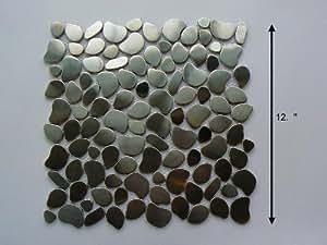 River Rock Stainless Steel Wall Mosaic Tile or Backsplash Mosaic Tile