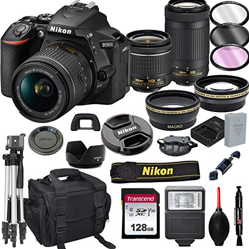 Nikon D5600 DSLR Camera with 18-55mm VR and 70-300mm Lenses + 128GB Card, Tripod, Flash, and More (20pc Bundle)