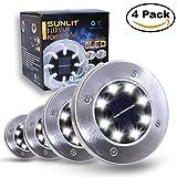 Sunlit Disk Solar Lights 8 LEDs | Waterproof Solar Ground Lights Dark Sensing Landscape Lights for Lawn Pathway Yard Driveway Patio Walkway | 4 Pack (Cool White)
