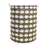 19.7'' Large Laundry Hamper Bucket Waterproof Coating Cotton Laundry Basket Collapsible Washing Basket Cute Canvas Storage Basket Bin Home Nursery Toy Organizer (Hedgehog)
