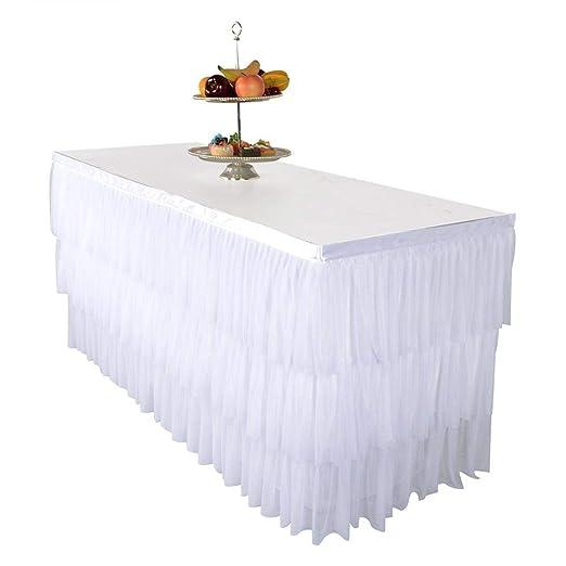 Falda de Mesa de Tul - Rosa/Blanco - 9 pies - Falda de Mesa ...